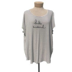 Sunday 'Hello Weekend' Striped Plus Size Shirt 2X